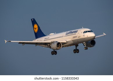 DUSSELDORF / GERMANY - AUGUST 2018 Lufthansa Airbus A319-114, D-AILB, cn 610, on short final to runway 23R.