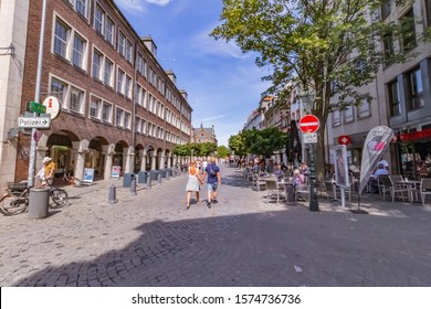 Dusseldorf, Germany – Augustus 12.2018: City skyline and shopping streets around Dusseldorf. The city is one of the biggest and most famous touristic destinations in the country.