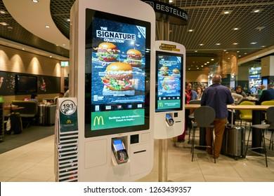 DUSSELDORF, GERMANY - CIRCA OCTOBER, 2018: self ordering kiosk at McDonald's restaurant in Dusseldorf airport.