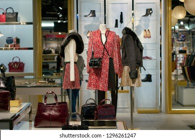 DUSSELDORF, GERMANY - CIRCA OCTOBER, 2018: mannequins on display at Patrizia Pepe shop in Dusseldorf airport.