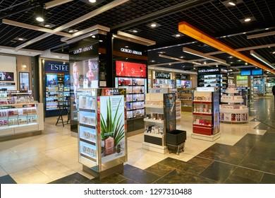 DUSSELDORF, GERMANY - CIRCA OCTOBER, 2018: perfumes and cosmetics on display in Dusseldorf Duty Free.