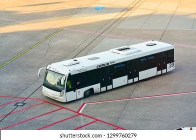 DUSSELDORF, GERMANY - CIRCA OCTOBER, 2018: infield shuttle bus Cobus 3000 at Dusseldorf airport.