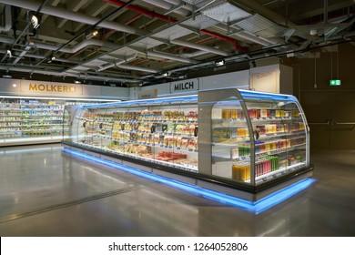DUSSELDORF, GERMANY - CIRCA SEPTEMBER, 2018: interior shot of Zurheide supermarket in Dusseldorf.