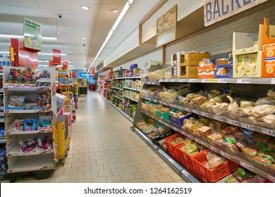DUSSELDORF, GERMANY - CIRCA SEPTEMBER, 2018: interior shot of grocery shop in Dusseldorf.