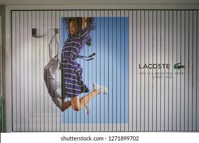 DUSSELDORF, GERMANY - CIRCA SEPTEMBER, 2018: interior shot of Lacoste shop in Dusseldorf.