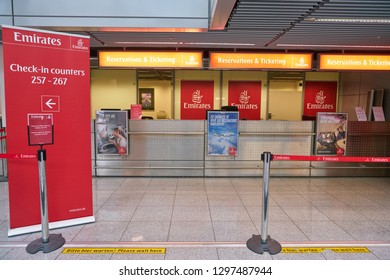 DUSSELDORF, GERMANY - CIRCA SEPTEMBER, 2018: Emirates reservations and tiketings counters in Dusseldorf airport.