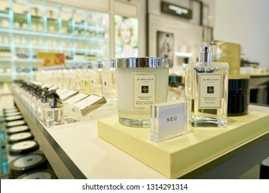 DUSSELDORF, GERMANY - CIRCA SEPTEMBER, 2018: Jo Malone products on display at Galeria Kaufhof in Dusseldorf.