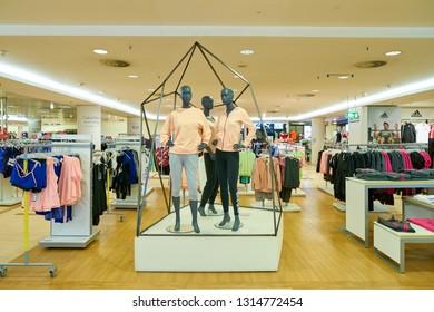 DUSSELDORF, GERMANY - CIRCA SEPTEMBER, 2018: clothing on display at Galeria Kaufhof in Dusseldorf.