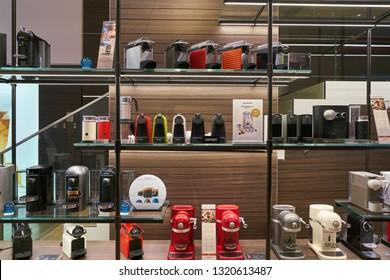 DUSSELDORF, GERMANY - CIRCA SEPTEMBER, 2018: inside Nespresso store in Dusseldorf. Nespresso machines brew espresso and coffee from coffee capsules, or pods.