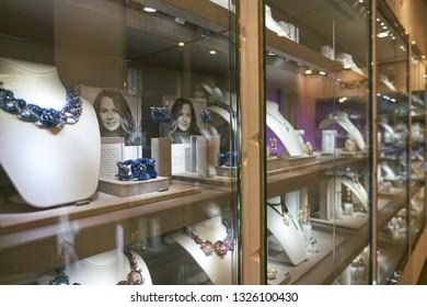 DUSSELDORF, GERMANY - CIRCA SEPTEMBER, 2018: interior shot of a Swarovski store in Dusseldorf. Swarovski is an Austrian producer of lead glass.
