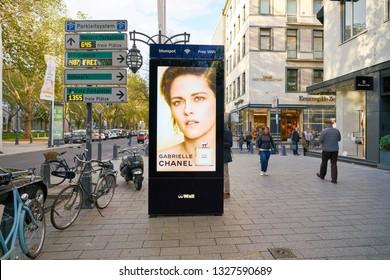 DUSSELDORF, GERMANY - CIRCA SEPTEMBER, 2018: street advertising pillar in Dusseldorf.
