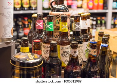 Dusseldorf, Germany - December 1, 2017 : Craft beer bottles at Christmas market in the city of Dusseldorf, an international business and financial centre, renowned for its fashion and trade fairs.