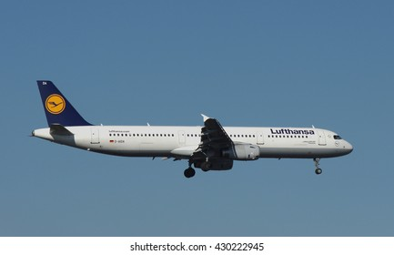DUSSELDORF, GERMANY - FEBRUARY 16, 2016: Airbus A321-200 of Lufthansa while final approach near the airport of Dusseldorf.