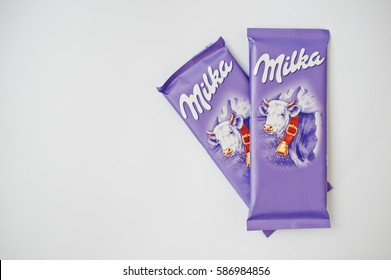 Dusseldorf, Germany - February 18, 2017: Two chocolates Milka on white background.