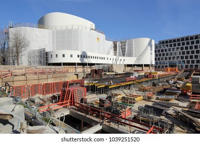 DUSSELDORF, GERMANY - FEBRUARY 24, 2018: Construction site in front of the Dusseldorf Theatre (Dusseldorfer Schauspielhaus) on February 24, 2018 in Dusseldorf.