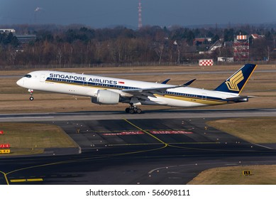 DUSSELDORF / GERMANY - JANUARY 2017 Singapore Airlines Airbus A350-941, 9V-SMC, cn 031 rotating into a climb at the beginning of its flight to Singapore.