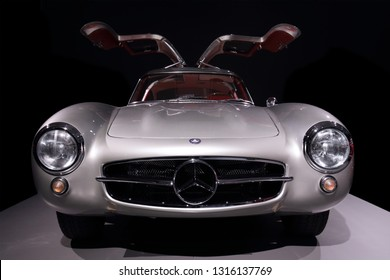 DUSSELDORF, GERMANY - JANUARY 6, 2019: Front view of a Mercedes-Benz 300 SL Coupé from 1955 on January 6, 2019 in Dusseldorf.