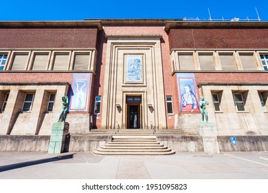 DUSSELDORF, GERMANY - JULY 01, 2018: NRW Forum Wirtschaft und Kultur cultural centre and museum with contemporary photography, design, media and creative arts