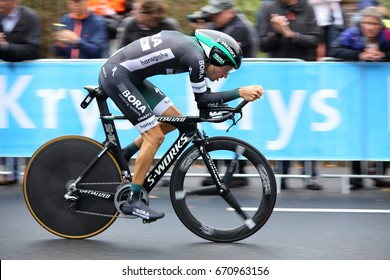 DUSSELDORF, GERMANY - JULY 1, 2017: A Team Bora-Hansgrohe rider at the inaugural time trial at the Tour de France on July 1, 2017 in Dusseldorf.