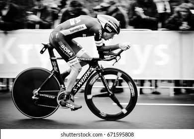 DUSSELDORF, GERMANY - JULY 1, 2017: Rudiger Selig of Team Bora - Hansgrohe at the inaugural time trial at the Tour de France on July 1, 2017 in Dusseldorf.