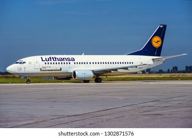 DUSSELDORF / GERMANY - JULY 1998 Lufthansa Boeing 737-330 (QC), D-ABXB, cn 23523 / 1271 named Passau taxiing to the runway.  One of 7 Quick Change 737 LH operated.