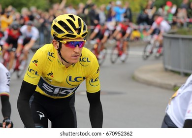 DUSSELDORF, GERMANY - JULY 2, 2017: Team Sky cyclist Geraint Thomas in the yellow jersey during stage 2 of the Tour de France from Dusseldorf to Liege on July 2, 2017 in Dusseldorf.