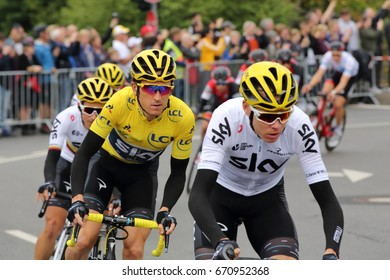 DUSSELDORF, GERMANY - JULY 2, 2017: Team Sky cyclists with Geraint Thomas in the yellow jersey during stage 2 of the Tour de France from Dusseldorf to Liege on July 2, 2017 in Dusseldorf.