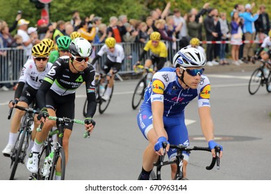 DUSSELDORF, GERMANY - JULY 2, 2017: Team Quick-Step rider Marcel Kittel leading the peloton during stage 2 of the Tour de France from Dusseldorf to Liege on July 2, 2017 in Dusseldorf.