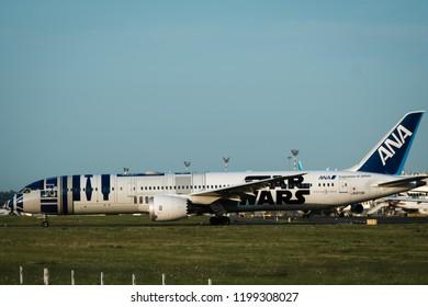 DUSSELDORF, GERMANY - JULY 22, 2017: Boeing 787-9 Dreamliner of All Nippon Airways (Star Wars R2-D2 Livery) JA873A is going to takeoff at Dusseldorf International Airport