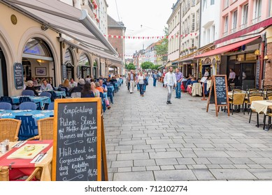 DUSSELDORF, GERMANY - JULY 28, 2016: Restaurants on the stree in Altstadt of Dusseldorf, Germany.