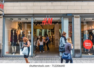DUSSELDORF, GERMANY - JULY 28, 2016: H&M store in Dusseldorf, Germany. H&M is a Swedish multinational clothing-retail company, known for its fast-fashion clothing for men, women and children.