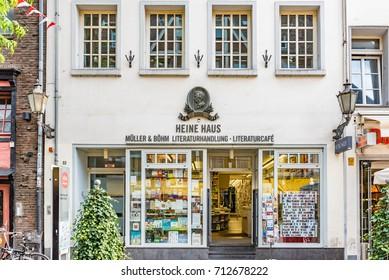 DUSSELDORF, GERMANY - JULY 28, 2016: Facade of the Heine Haus in Dusseldorf. The Heine Haus is the birth place of  Heinrich Heine, German Poet.