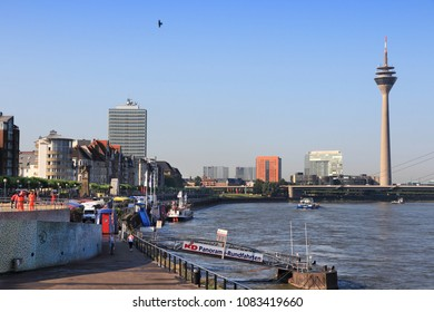 DUSSELDORF, GERMANY - JULY 8, 2013: People visit Dusseldorf, Germany. Dusseldorf is 7th most populous city in Germany with 604,000 people (1.2 million in urban area).