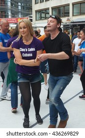 Dusseldorf, Germany - June, 11, 2016, Dussalsa Latin Festival, on one of the squares of the city is dancing Latin dance fans, editorial.