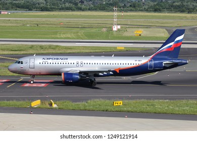 DUSSELDORF, GERMANY - JUNE 7, 2014: Aeroflot Russian Airlines Airbus A320-200 with registration VP-BDY on taxiway of Dusseldorf Airport.
