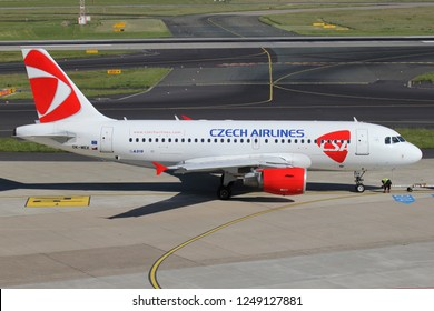 DUSSELDORF, GERMANY - JUNE 7, 2014: CSA Czech Airlines Airbus A319-100 with registration OK-MEK on the ramp of Dusseldorf Airport.
