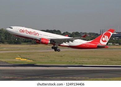 DUSSELDORF, GERMANY - JUNE 7, 2014: Air Berlin Airbus A330-200 with registration D-ALPE just airborne at Dusseldorf Airport. Air Berlin filed for insolvency on 15 August 2017.