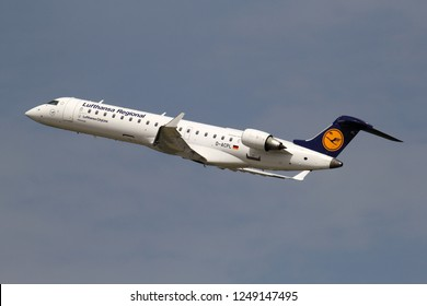DUSSELDORF, GERMANY - JUNE 7, 2014: German Lufthansa CityLine Bombardier CRJ700 in Lufthansa Regional livery with registration D-ACPL just airborne at Dusseldorf Airport.