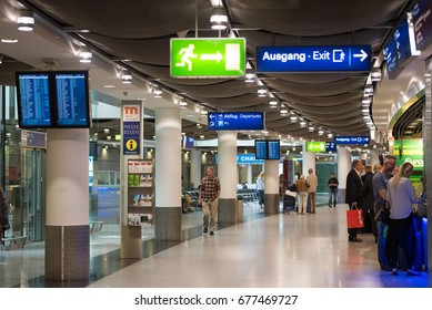 DUSSELDORF, GERMANY - JUNE 8, 2017: The interior of the airport. Copy space for text