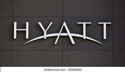 DUSSELDORF, GERMANY - MAY, 2014: Hyatt Hotels brandmark on modern facade.