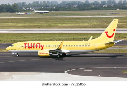 DUSSELDORF, GERMANY - MAY 21: Airplane Boeing 737-800 landed in Dusseldorf airport on May, 21 2011. TUIfly, with its fleet of 38 aircraft, is the third largest airline in Germany.