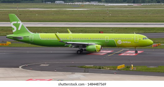 DUSSELDORF, GERMANY - MAY 26, 2019: S7 Airlines Airbus A321-231 (CN 6734) taxi in Dusseldorf Airport.