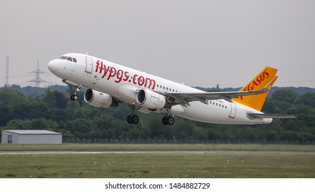 DUSSELDORF, GERMANY - MAY 26, 2019: Pegasus Airlines Airbus A320-214 (CN 7145) takes off from Dusseldorf Airport.