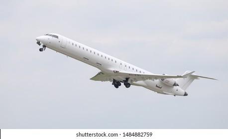 DUSSELDORF, GERMANY - MAY 26, 2019: CityJet Canadair Regional Jet CRJ-900LR (CN 15425) takes off from Dusseldorf Airport.