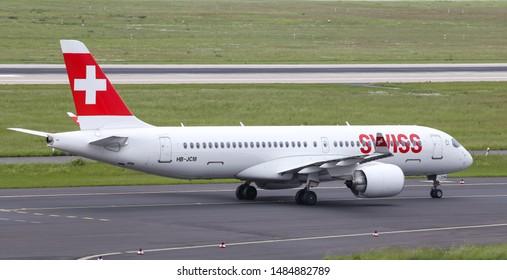 DUSSELDORF, GERMANY - MAY 26, 2019: Swiss International Air Lines Airbus A220-300 (CN 55030) taxi in Dusseldorf Airport.