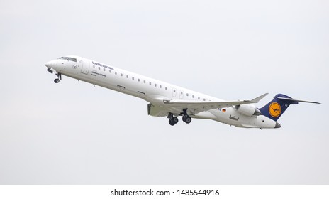 DUSSELDORF, GERMANY - MAY 26, 2019: Lufthansa Cityline Canadair Regional Jet CRJ-900LR (CN 15081) takes off from Dusseldorf Airport.