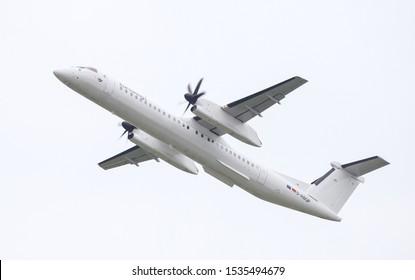 DUSSELDORF, GERMANY - MAY 26, 2019: Eurowings Bombardier Dash 8 402 (CN 4137) takes off from Dusseldorf Airport.