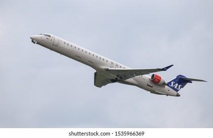 DUSSELDORF, GERMANY - MAY 26, 2019: SAS Canadair Regional Jet CRJ-900LR (CN 15439) takes off from Dusseldorf Airport.