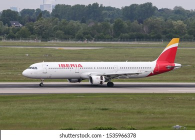 DUSSELDORF, GERMANY - MAY 26, 2019: Iberia Airbus A321-212 (CN 1021) taxi in Dusseldorf Airport.