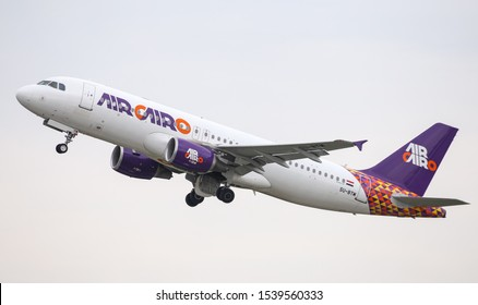 DUSSELDORF, GERMANY - MAY 26, 2019: Air Cairo Airbus A320-214 (CN 4320) takes off from Dusseldorf Airport.